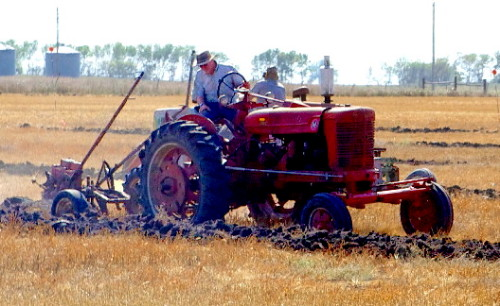 Gas Tractor Plowing